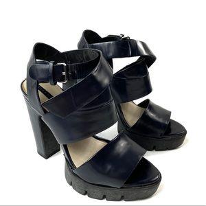 ZARA WOMAN Black Strappy Platform Heels